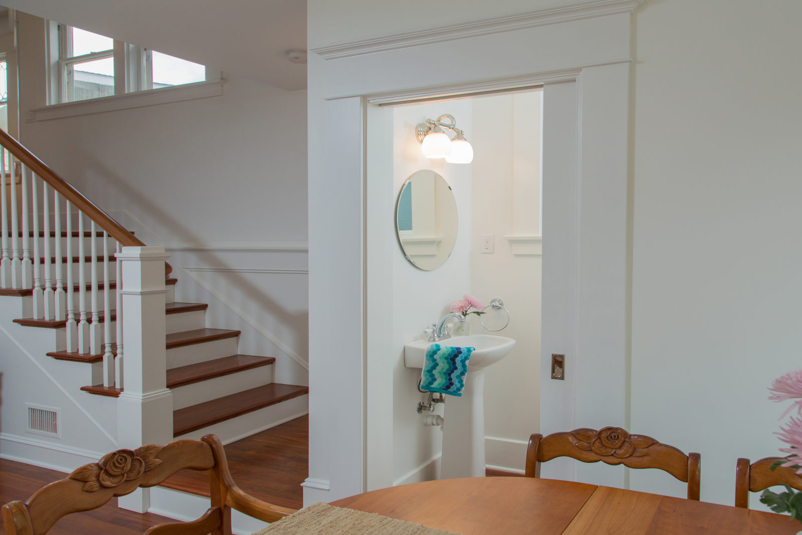 Classic Upstairs & Modern Powder Room