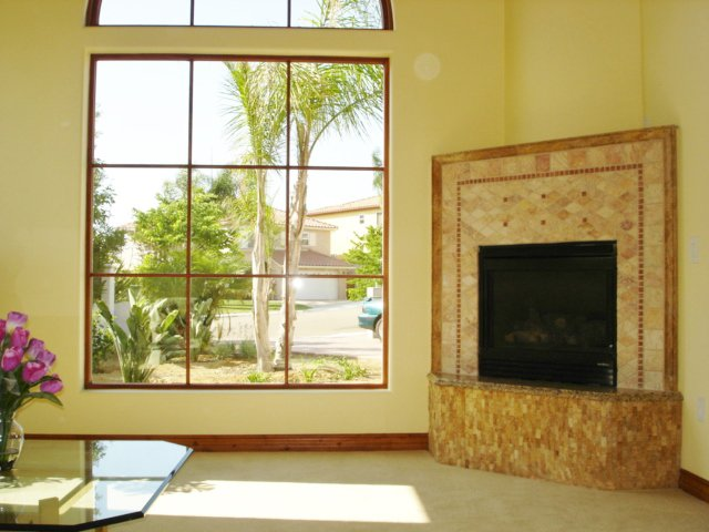 Divided Lite Picture Window & Fireplace Surround
