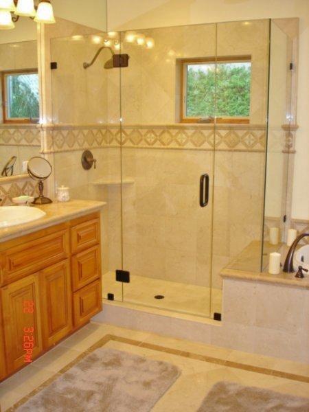 Frameless Glass Shower Modernizes Traditional Bathroom