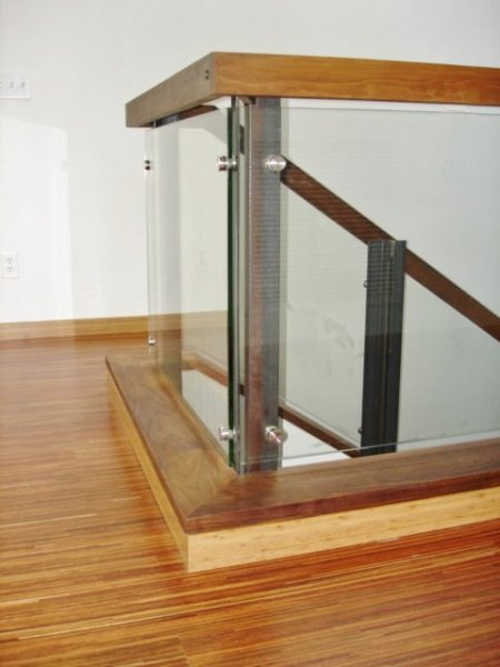 Glass Rail With Walnut Bannister & Bamboo Floor