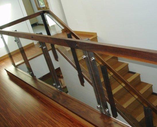 Walnut, Glass & Angle Iron Railing