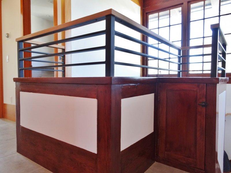 Modern Stairwell Railing & Traditional Paned Windows