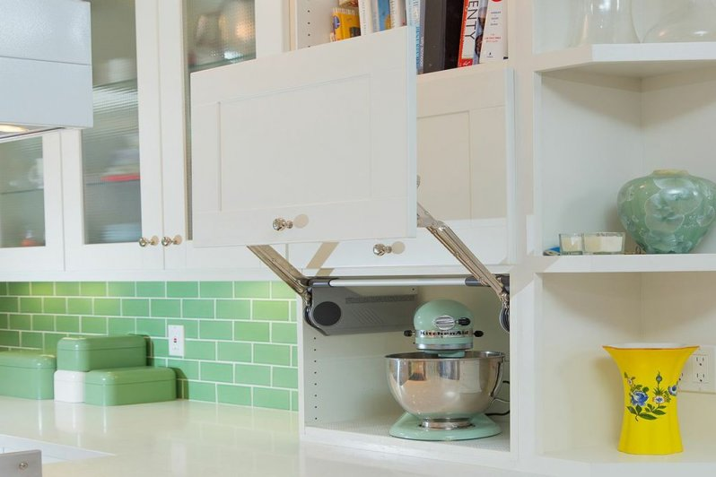 Cabinet Hardware With Retro Mixer & Subway Tile